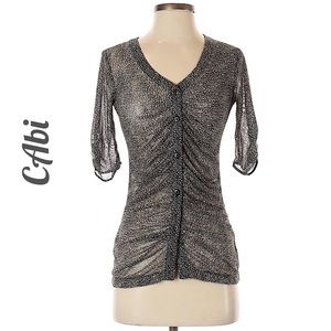CAbi snake print sheer 3/4 length blouse XS